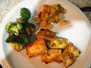 Ginger maple glazed tofu with sweet potatoes and sauteed broccoli