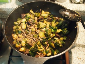 Beef and veggie stir fry.  Not on the menu