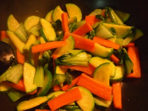 Quickly sauteed carrots, green pumpkin and bok choy