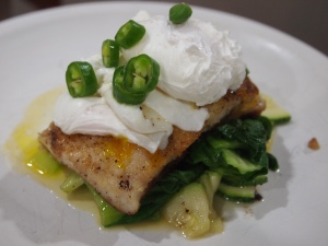 Pan fried cod and poached egg experiment....needs some tweaks, but on the right rack