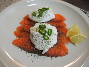 New breakfast idea.  2 Poached eggs over smoked salmon with dill and lemon
