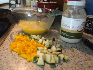 scrambled eggs and veggies for breakfast